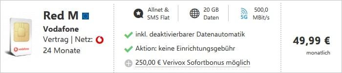 Vodafone Red M mit 250 Euro Sofortbonus bei verivox