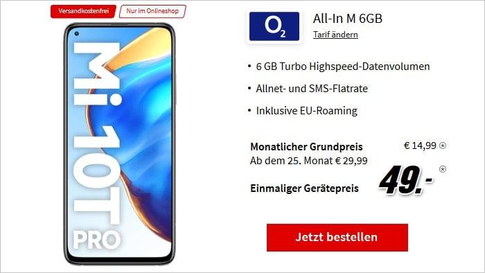 Xiaomi Mi 10T Pro 5G mit o2 Blue All-In M 6 GB bei MediaMarkt