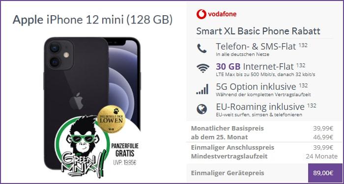 iPhone 12 mini + Vodafone Smart XL bei FLYmobile