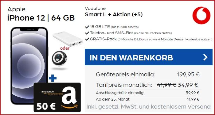 iPhone 12 + 50 € Amazon-Gutschein und Powerbank oder Tracker mit Vodafone Smart L Plus bei PB24