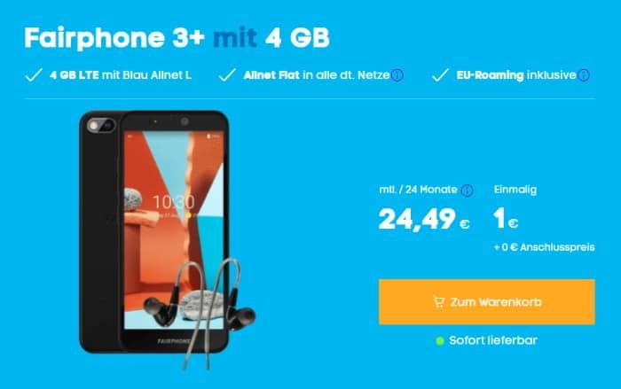 Fairphone 3 Plus mit Fairphone Modular Earphones + Blau Allnet L bei Blau
