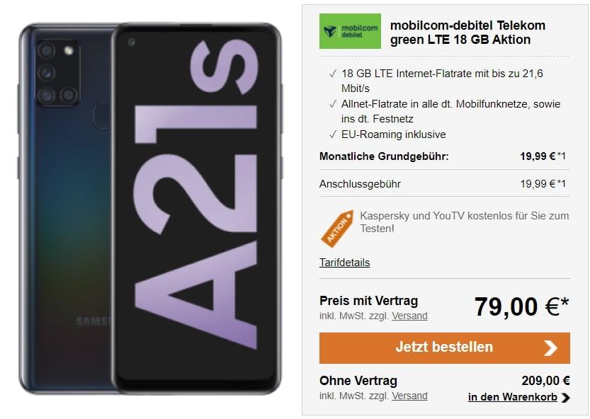 Samsung galaxy a21 + md green lte Telekom-Netz 18 GB LTE