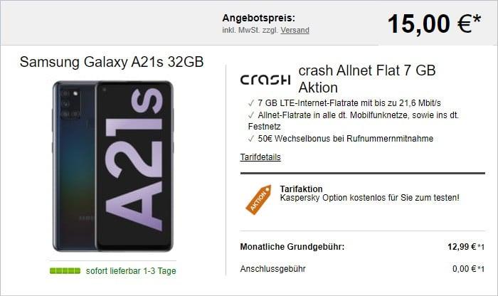 Samsung Galaxy A21s + crash Allnet Flat bei LogiTel