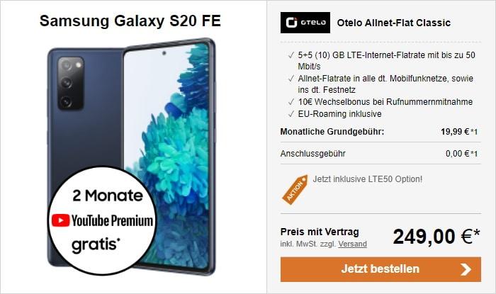 Samsung Galaxy S20 FE + otelo Allnet Flat Classic bei LogiTel