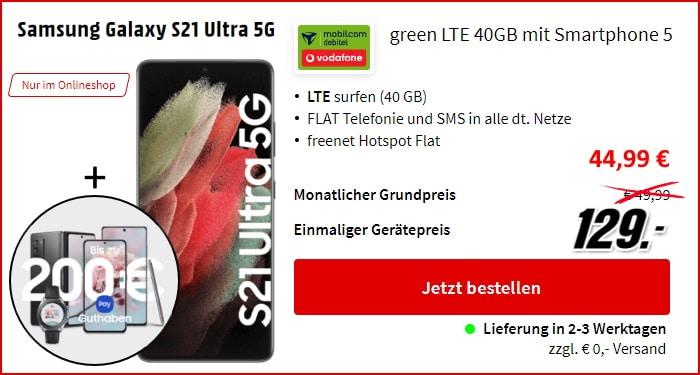Samsung Galaxy S21 Ultra 5G + 200 € Samsung Pay + mobilcom-debitel green LTE (Vodafone-Netz) bei MediaMarkt