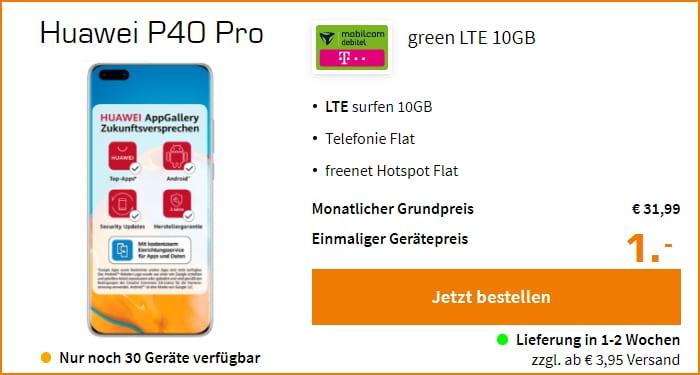 Huawei P40 Pro mit green LTE 10 GB im Telekom-Netz bei Saturn