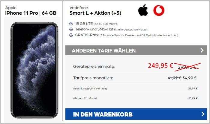 iPhone 11 Pro 64 GB mit Vodafone Smart L Plus bei Preisboerse24