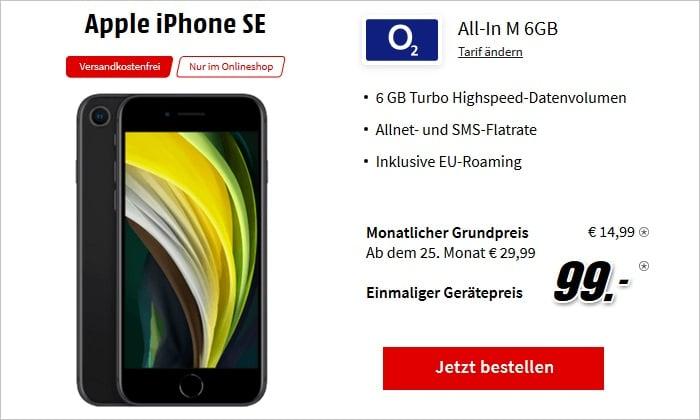 iPhone SE 2020 mit o2 Blue All-In M 6 GB bei MediaMarkt