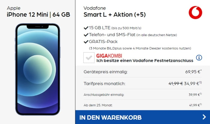 iPhone 12 mini + Vodafone Smart L Plus bei Preisboerse24