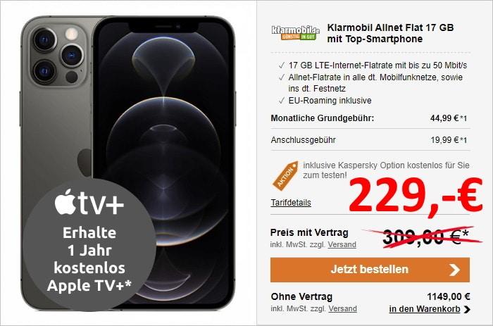 Apple iPhone 12 Pro + klarmobil Allnet Flat (Vodafone-Netz) bei LogiTel