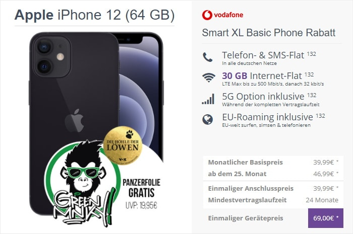iPhone 12 + Green Mnky Panzerglasfolie + Vodafone Smart XL 5G bei FLYmobile