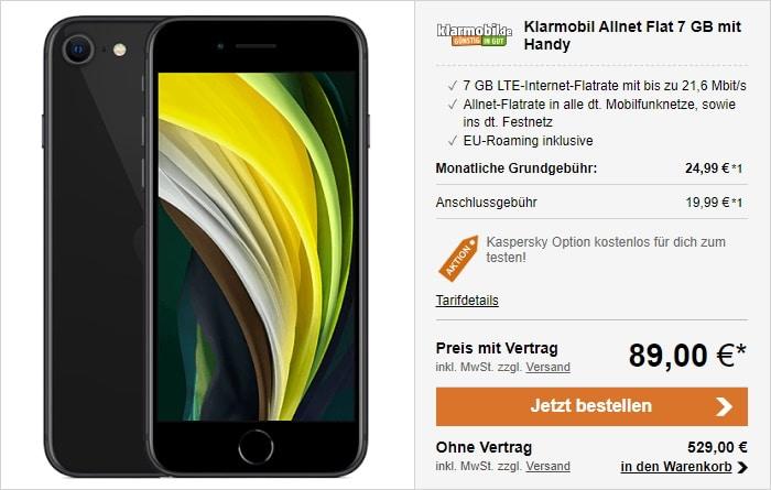 iPhone SE 2020 mit klarmobil Allnet Flat 7 GB LTE im Vodafone-Netz bei LogiTel