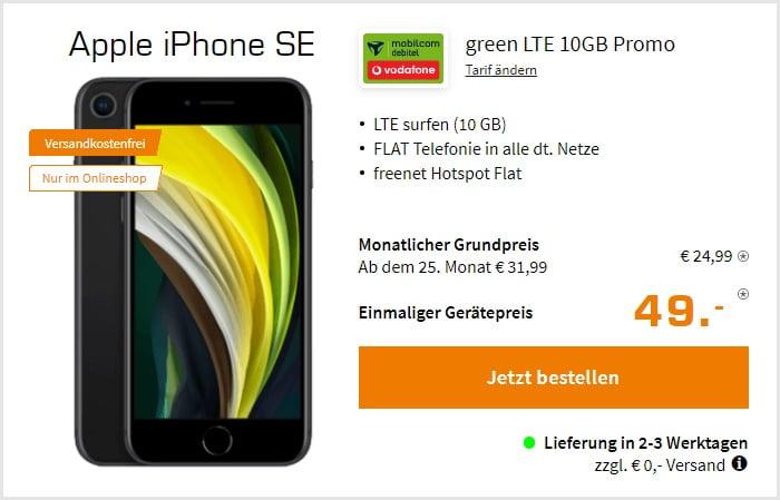 iPhone SE (2020) + mobilcom-debitel green LTE (Vodafone-Netz) bei Saturn