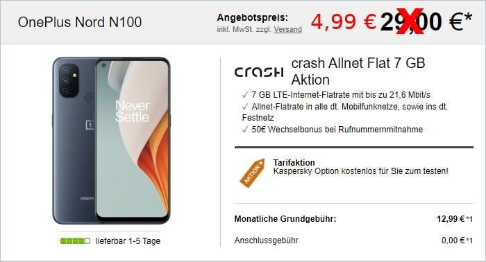 OnePlus Nord N100 mit crash Allnet Flat 7 GB bei LogiTel