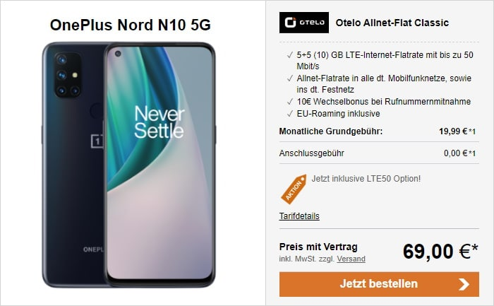 OnePlus Nord N10 5G mit otelo Allnet-Flat Classic LTE50 bei LogiTel