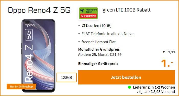 Oppo Reno4 Z 5G mit md green LTE im Vodafone-Netz bei Saturn