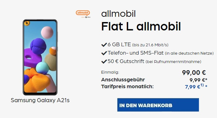 Samsung Galaxy A21S Allmobil Flat L Preisboerse24