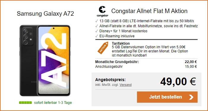 Samsung Galaxy A72 + congstar Allnet Flat M (Aktion) bei LogiTel
