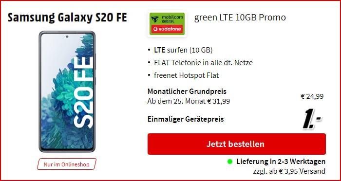 Samsung Galaxy S20 FE + mobilcom-debitel green LTE im Vodafone-Netz bei MediaMarkt