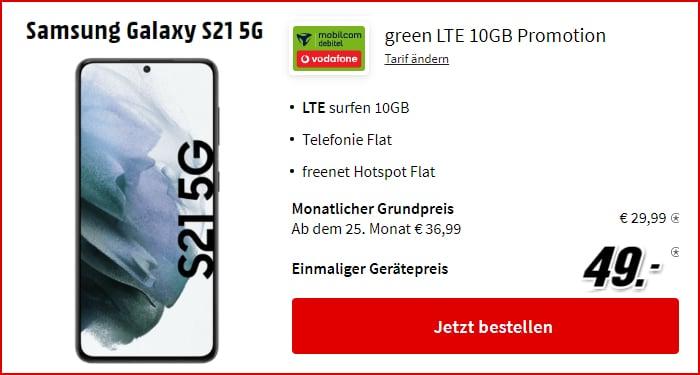 Samsung Galaxy S21 5G + mobilcom-debitel green LTE (Vodafone-Netz) bei MediaMarkt