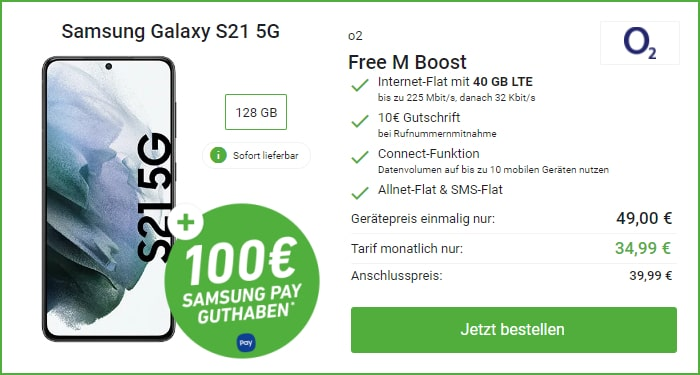 Samsung Galaxy S21 5G mit 100 € Samsung Pay Guthaben zum o2 Free M bei DeinHandy