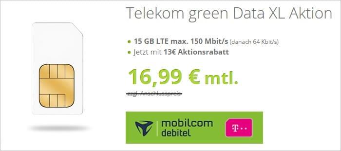 md green Data XL mit 15 GB LTE im Telekom-Netz bei modeo
