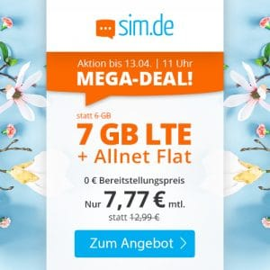 sim.de LTE All 6 GB Aktion April 2021 Thumbnail