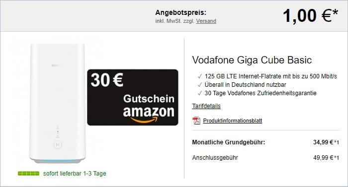 GigaCube - Internet über LTE mit 125 GB + 30 € Amazon-Gutschein bei LogiTel