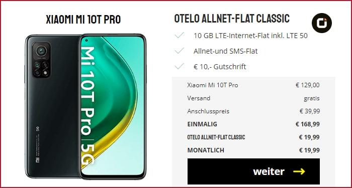 Xiaomi Mi 10T Pro 5G (128 GB) + otelo Allnet-Flat Classic (10 GB) im Vodafone-Netz bei Sparhandy