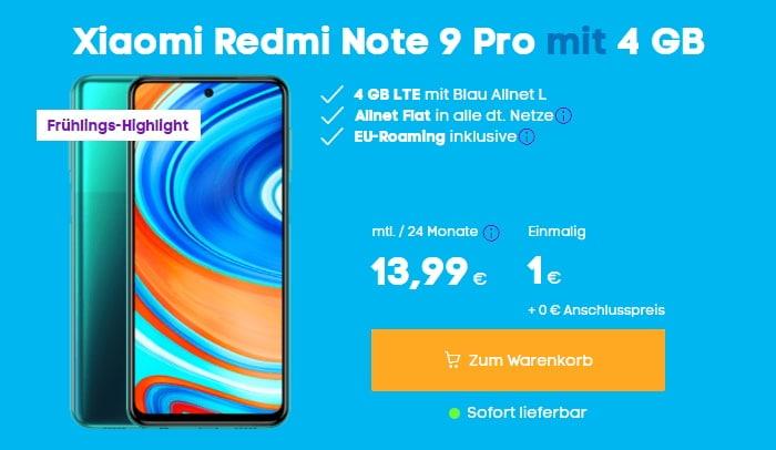 Xiaomi Redmi Note 9 Pro mit Blau Allnet L bei Blau