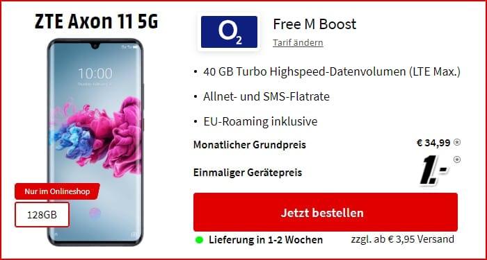 ZTE Axon 11 5G + o2 Free M Boost bei MediaMarkt