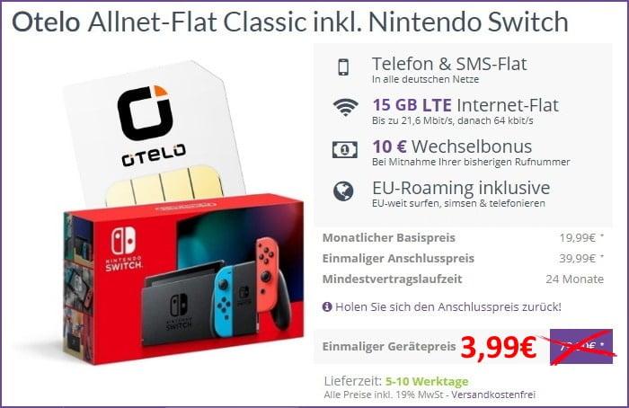 otelo Allnet Flat Classic + Nintendo Switch (2019) bei FLYmobile
