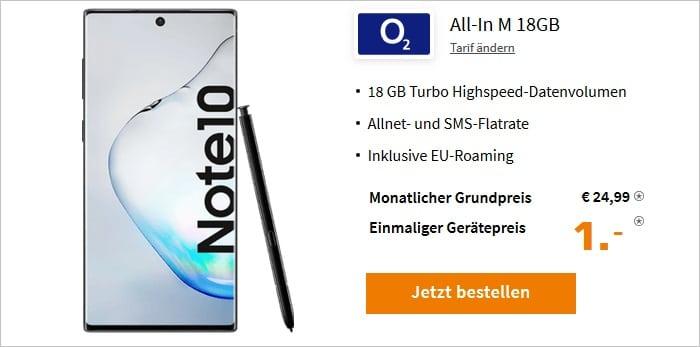 Samsung Galaxy Note10 mit o2 Blue All-In M 18 GB bei Saturn
