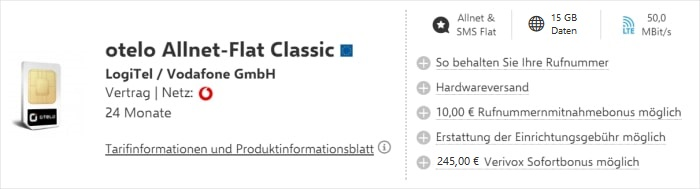 Verivox otelo Classic mit Cashback und 15 GB Aktion