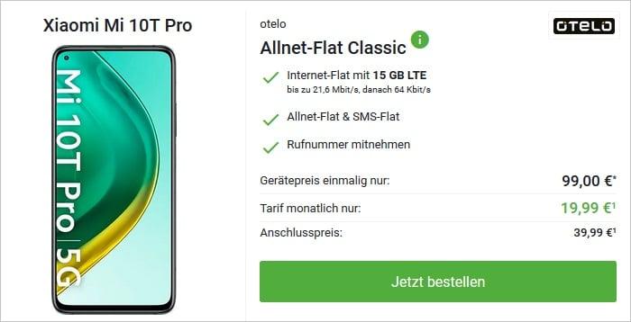 Xiaomi Mi 10T Pro mit otelo Allnet Flat Classic 15 GB Aktion bei DeinHandy