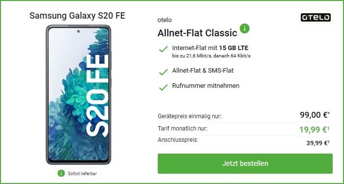 Galaxy S20 FE mit otelo Allnet-Flat Classic 15 GB Aktion bei DeinHandy