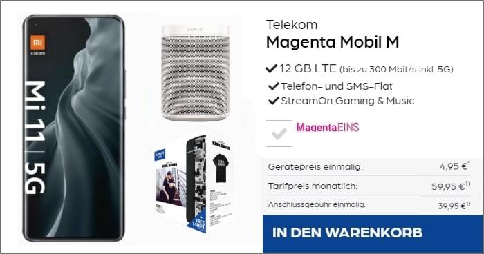 Xiaomi Mi 11 5G + UE BOOM 2 + Sonos One MagentaMobil M bei PB24