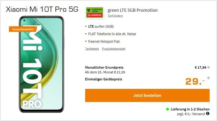Xiaomi Mi 10T Pro + mobilcom-debitel green LTE (Vodafone-Netz) bei Saturn