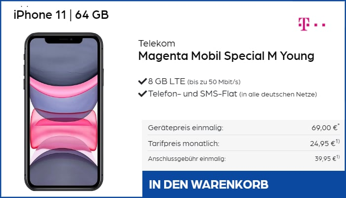 iPhone 11 mit Telekom Magents Special M Young bei Preisboerse24