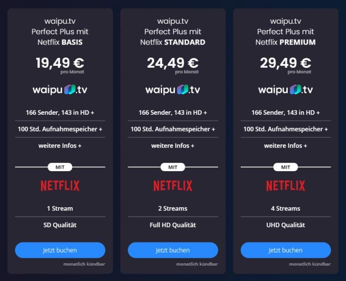 waipu.tv Netflix-Pakete September 2021