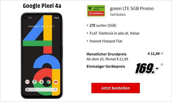 Google Pixel 4a + md green LTE 5 GB im Vodafone-Netz bei MediaMarkt