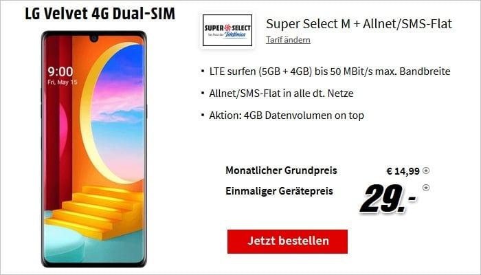 LG Velvet 4G mit Super Select M 9 GB bei MediaMarkt