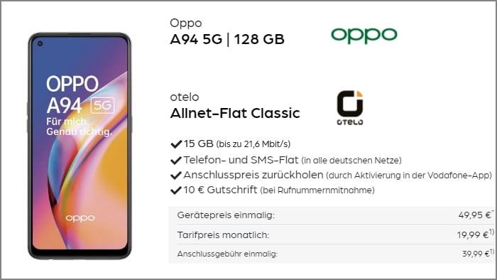 Oppo A94 5G Otelo Allnet Flat Classic 15 GB Aktion