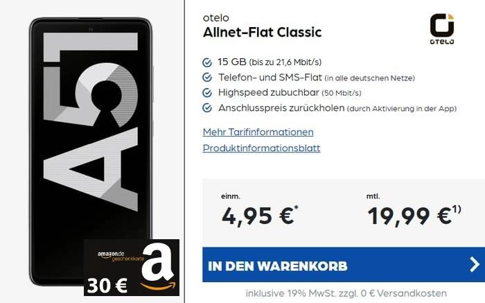 Samsung Galaxy A51 + Amazon + otelo Allnet Flat Classic 15 GB Aktion bei Preisboerse24