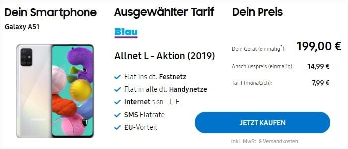 Samsung Galaxy A51 + Blau Allnet L mit 5 GB LTE bei Samsung