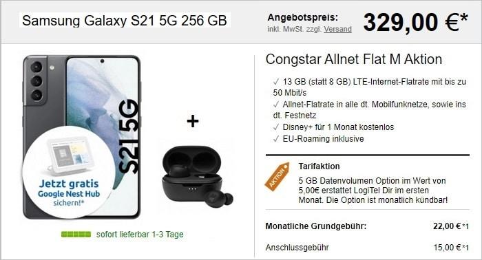 Samsung Galaxy S21 5G 256 GB + Nest Hub + JBL Tune 115 TWS + congstar Allnet Flat M bei LogiTel