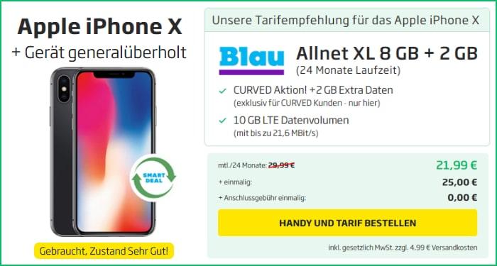 Apple iPhone X (neuwertig) mit Blau Allnet XL bei curved