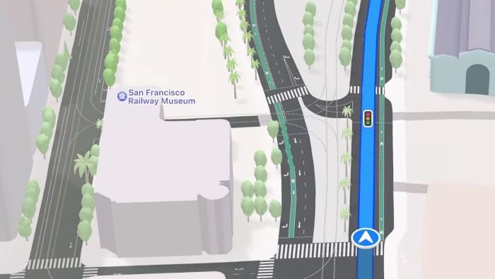 Straßendetails für Routen in Apple Maps in iOS 15