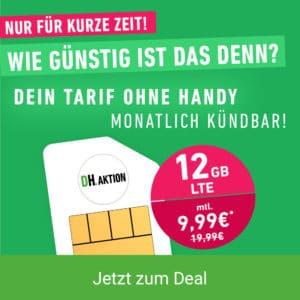 Aktion: mobilcom-debitel green LTE Flex 12 GB (Telefónica-Netz) bei DH - Teaser
