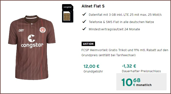 FC St. Pauli Tarif congstar im Telekom-Netz